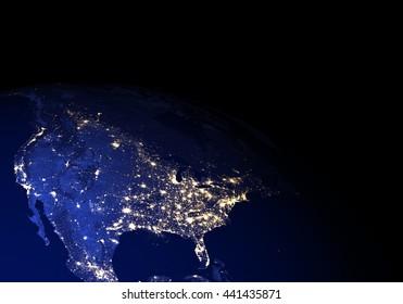 The Earth from space at night without clouds. Elements of this image furnished by NASA. Other orientations available.