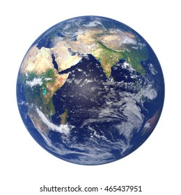 Earth from space showing Africa, Asia and Australia (3d illustration isolated on white background, elements of this image are furnished by NASA)