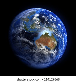 The Earth from space showing Australia and Indonesia. Extremely detailed image including elements furnished by NASA. Other orientations available.