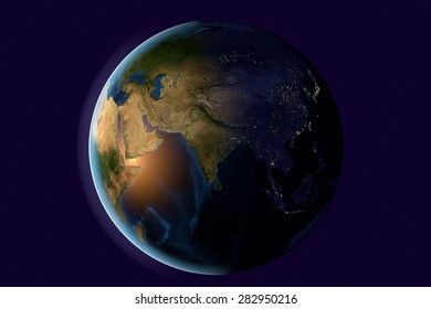 The Earth from space showing India, Asia on globe in the evening; elements of this image furnished by NASA