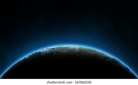 Earth in the space. Stars on the background. Place for text and infographics. Elements of this image furnished by NASA. Astronomy and science concept
