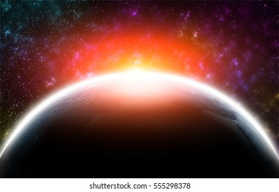 Earth from space with stars and sun flare. Abstract sci-fi background