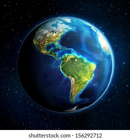 earth in the space - Universe background - USA