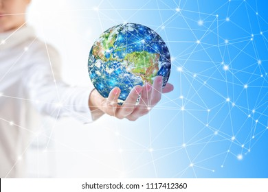 Earth from Spaceearth in hands, globe in hands . Best Internet Concept of global business from concepts series. Elements of this image furnished by NASA. 3D illustration. Symbol of travel, internet