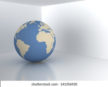 Earth sphere in room. Real estate concept
