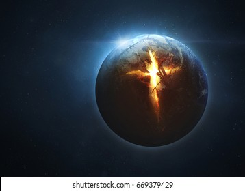 The earth is split open by a giant cross. Elements provided by NASA