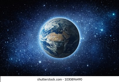 Earth, star and galaxy. Elements of this image furnished by NASA