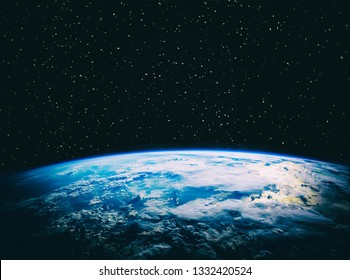 Earth and stars. Blue earth. Great for background.  The elements of this image furnished by NASA.