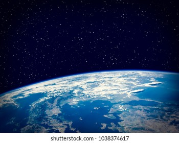 Earth and stars. The elements of this image furnished by NASA.