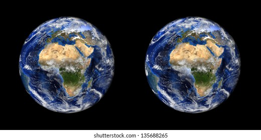 Earth stereo pair. 3D solar system series. Use these images to make a 3D image in the format of your choice (red/cyan anaglyph, animated gif, interlaced). Elements of this image furnished by NASA.