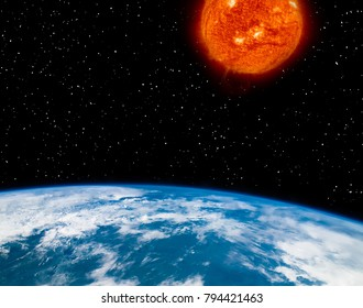 Earth and sun. Distance between them. The elements of this image furnished by NASA.