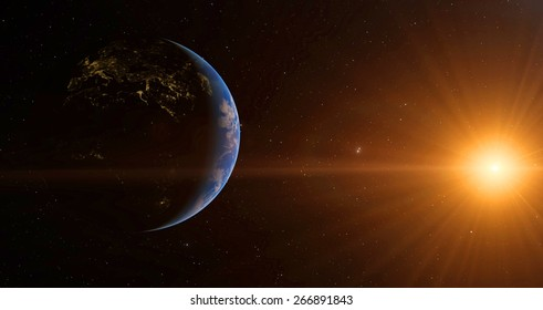 Earth and sun. Elements of this image furnished by NASA
