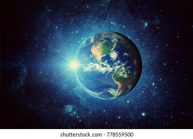 Earth, sun and galaxy. Elements of this image furnished by NASA
