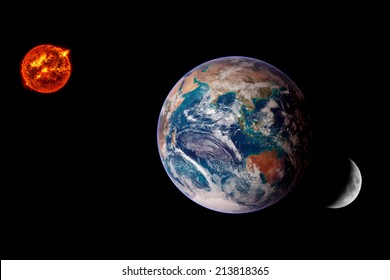 Earth Sun Moon lunar eclipse space background. Elements of this image furnished by NASA.