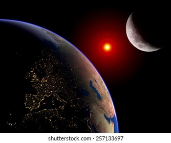 Earth Sun Moon lunar solar eclipse outer space planet. Elements of this image furnished by NASA.