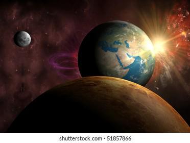Earth with Sun, Moon and Venus