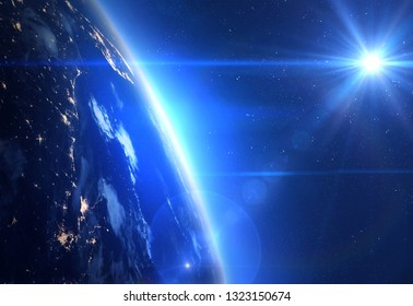Earth, Sun and Space. Elements of this image furnished by NASA