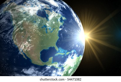 Earth and sun. Space sunrise America