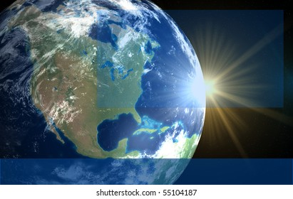 Earth and sun. Space sunrise America for text and logo