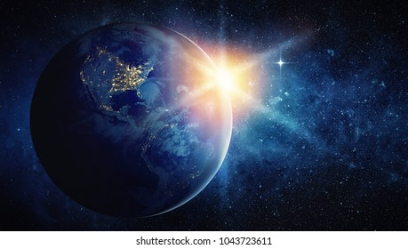 Earth, sun, star and galaxy. Elements of this image furnished by NASA