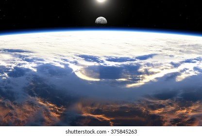 Earth sunrise with clouds, moon and stars