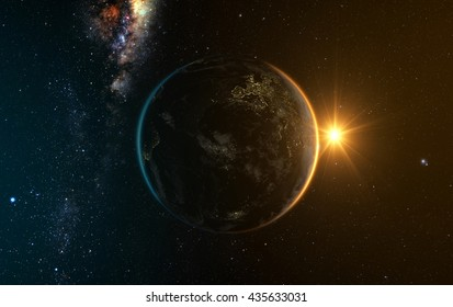 earth with Sunrise from space with milkyway in the backgroud, 3d render. Elements of this image furnished by NASA