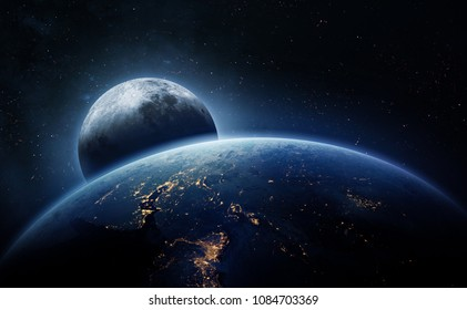 Earth surface in the space. Moon on background