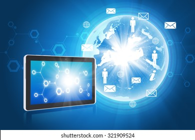 Earth with tablet and people icons on abstract blue background