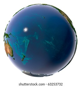 Earth with translucent water in the oceans and the detailed topography of the continents. Pacific Ocean