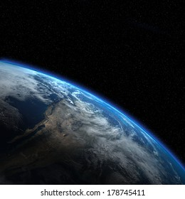 "Earth view from outer space. ""Elements of this image furnished by NASA"""