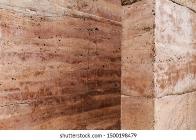 Earth wall background Red Clay Earthen Wall Texture Background