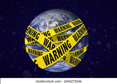 Earth with warning yellow tape. Global catastrophe concept (greenhouse effect, global warming, pollution, viruses are destroying our planet). Earth photo by NASA.