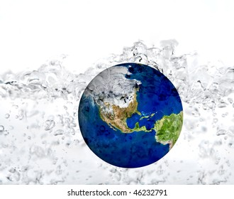 earth in water dropped isolated on a white. inundation concept