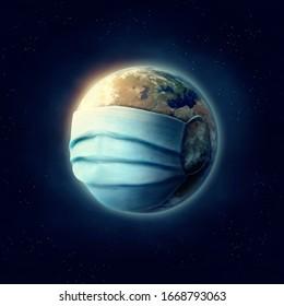 Die Erde trägt eine chirurgische Maske. Diese Bildelemente der NASA