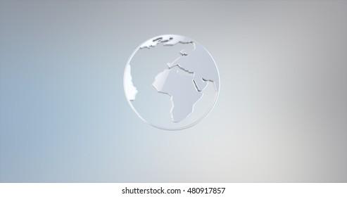 Earth White 3d Icon