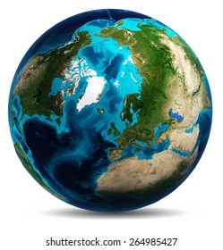 Earth white isolated. Elements of this image furnished by NASA