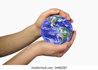 earth in woman's hands on white background