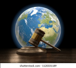 earth and wooden judge gavel 3d-illustration. Elements of this image furnished by NASA