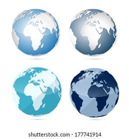 Earth World Globe Map Isolated on White Background