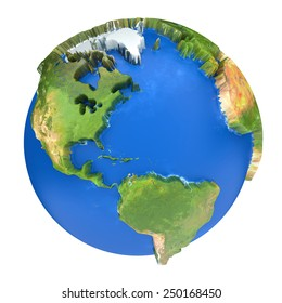 Earth world map. North and South America on a planet globe. 3d concept illustration