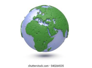 Earth, world map. polygonal globe. 3d illustration