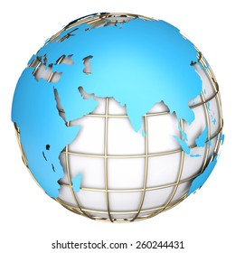 Earth world map.Africa, Europe and Azia on a planet globe. 3d illustration
