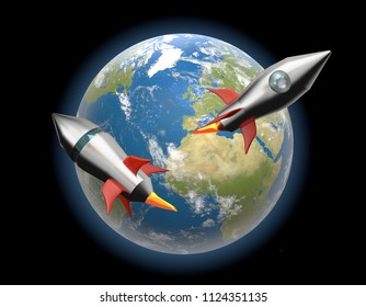 earth world rockets project 3d-illustration. elements of this iamge furnished by NASA