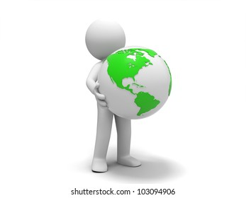 the earth/A 3d people was holding the earth