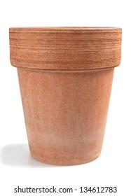 earthenware flowerpot isolated on white