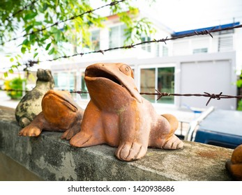 Earthenware frog,Close-up of  handcraft in asian,Texture