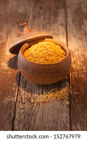 Earthenware pot of bulgur wheat, a form of cracked or dried crushed wheat granules or grains used in Middle Eastern cuisine
