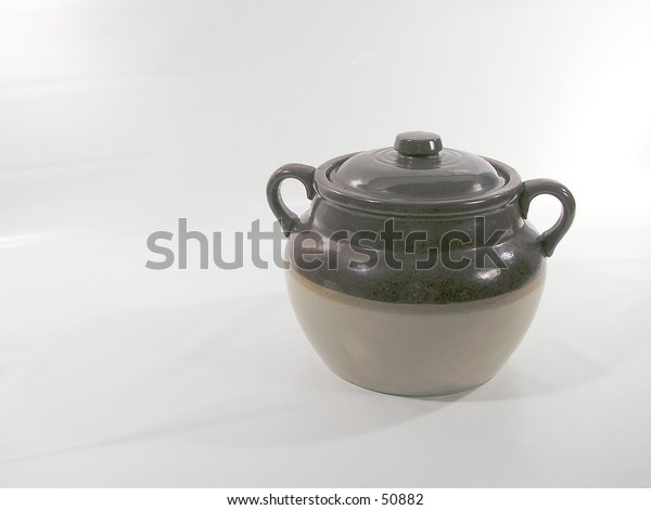 earthenware pot used in Quebec to cook beans with lard - left space in blank for writing