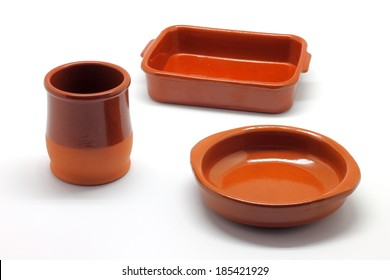 Earthenware tableware isolated on white background