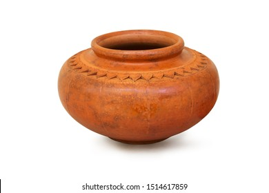 earthenware water pot with ancient patterns isolated on white background